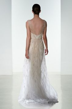 Love the delicate beading and the shimmering gold accents on this wedding dress! Dress: Amsale Spring 2016 Collection