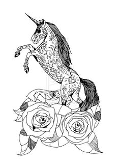 Day Of The Dead Unicorn And Roses By SarahCake Design On DeviantART