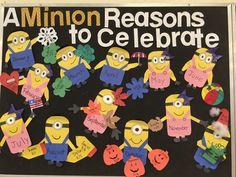 A Minion reasons to come to the library. 21st Birthday Crafts, Preschool Birthday Board, Birthday Bulletin Boards, Classroom Birthday, Birthday Wall, Minion Birthday, Minion Classroom, Toddler Classroom, Classroom Decor