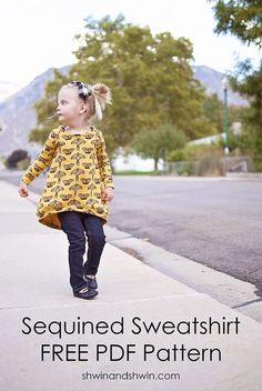 Sequined Raglan Sweatshirt    FREE Pattern for size 2T.