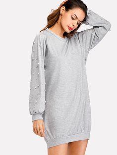 62ca4b20fe7 Pearl Beaded Raglan Marled Sweatshirt DressFor Women-romwe