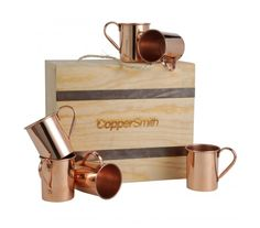 A premium gift for the home entertainer, this box features 6 handcrafted smooth mule mugs and premium packaging. Copper Decor, Copper Pots, Kitchen Items, Smooth, Packaging, Classy, Entertaining, Bar, Mugs