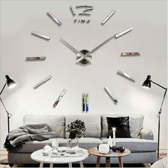 DIY Extra Large Wall Clock Luxury Mirror Wall Sticker Home Room Decoration Large Silver Wall Clock, Big Wall Clocks, Mirror Wall Clock, Large Clock, 3d Mirror, Large Art, Vinyl Diy, New Wall, 3d Home