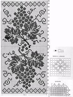 Grape table or tray runner – Wilma Spielen - Crochet Filet Crochet Charts, Crochet Motifs, Crochet Cross, Crochet Home, Thread Crochet, Crochet Doilies, Crochet Stitches, Knit Crochet, Knitting Charts