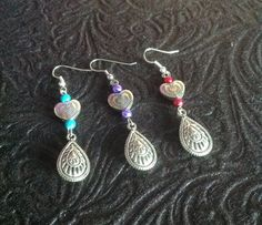 Engraved Heart Drop Earrings by BeverlyJaneCreations on Etsy