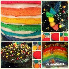 Tarta Arco Iris Esta tarta es muy divertida, tanto el hacerla como el resultado final. Ideal para impresionar a los más peques ;)