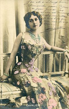 Vintage French hand tinted photo postcard of Lina Cavalieri