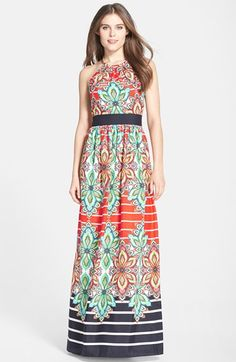 Free shipping and returns on Eliza J Print Crêpe de Chine Halter Maxi Dress (Regular & Petite) at Nordstrom.com. Bold flowers and bright stripes pattern a head-turning maxi dress crafted from beautiful crêpe de Chine. A golden necklace begins the halter neckline while a solid band elegantly nips in the waist for a curve-defining detail in the rippling silhouette.