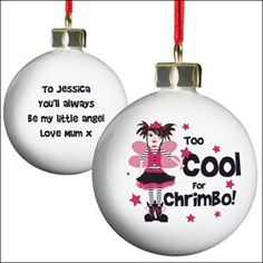 Personalised Too Cool for Chrimbo Christmas Bauble