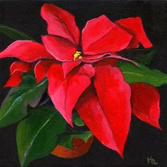 Poinsettia, painting by artist Ria Hills