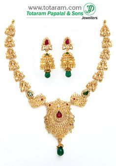 22K Gold 'Peacock' Necklace & Drop Earrings Set with Uncut Diamonds - DS536 - Indian Jewelry from Totaram Jewelers