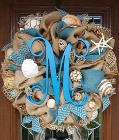 Burlap and TURQUOISE BEACH Wreath with an INITIAL by decoglitz