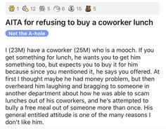 This coworker mooched a little too hard and felt the consequences. #coworker #mooch #lunch #story