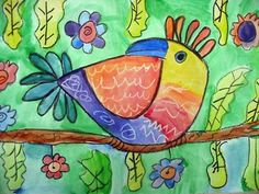 crayon and watercolor bird --- Completed (Mona Brooks - Drawing with Children) Square One Art, 3rd Grade Art Lesson, South American Art, School Art Projects, School Ideas, Spring Art, Summer Art, Ecole Art, Art Lessons Elementary