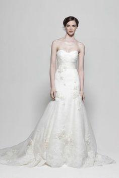 Strapless dropped waist sheath / column organza wedding dress