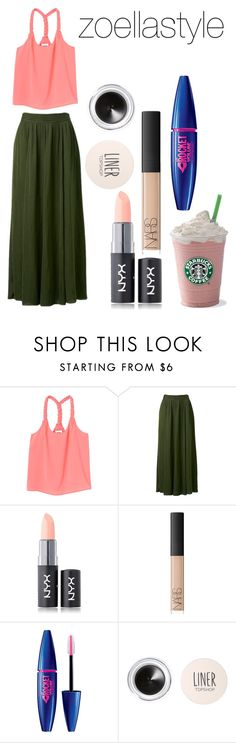 """""""going to starbucks"""" by zoellastyle ❤ liked on Polyvore featuring Monki, Forever New, NYX, NARS Cosmetics, Topshop, starbucks and Zoella"""