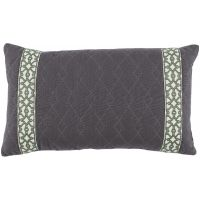 #02 Quilted Charcoal Linen w/ Grass Florence Tape Lumbar Pillow