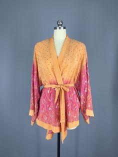 Vintage Apricot Silk Sari Kimono Jacket