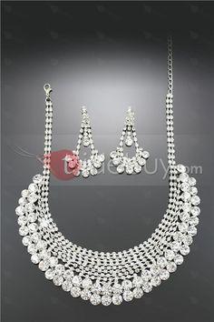 ラインストーン飾り魅力アロイウェディングジュエリーセット(ネックレスとイヤリングを含める)