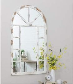 Wayfair Kirwan Farmhouse Arch Wall Mirror I've always wanted an arch style Farmhouse Mirrors, Rustic Wall Mirrors, Modern Farmhouse, Farmhouse Decor, Arch Mirror, Floor Mirror, Virtual Staging, Long Walls, Entryway Wall