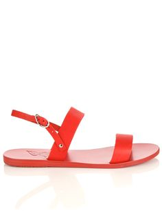 Red Leather Solid Sandals | Ancient Greek Sandals | Avenue32