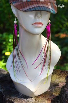 THESE ARE MINE!!!! long feather earrings pink feather jewelry by featherswholesale, $32.00