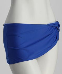 Take a look at this True Blue Twisted Ring Skirted Bikini Bottoms by Perry Ellis on #zulily today!