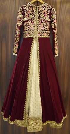 Velvet Embroidered Anarkali Jacket Set
