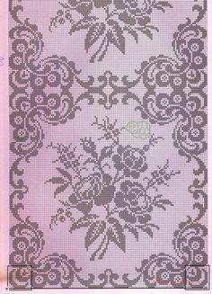 Crochet Edgings Design Kira crochet: Crocheted scheme no. Cross Stitch Borders, Cross Stitch Rose, Cross Stitch Samplers, Cross Stitch Flowers, Cross Stitch Designs, Cross Stitch Embroidery, Cross Stitch Patterns, Filet Crochet Charts, Crochet Borders