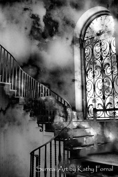 Surreal Photography, Black White Surreal Staircase, Storm Clouds, Spooky, Haunting, Ethereal, Fine Art Photography
