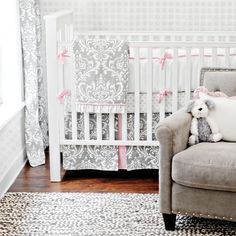 This pink and gray baby bedding for a classy and elegant look for your baby girls nursery. Stella Gray pink and grey baby bedding is perfect for your baby girl's nursery. Pink baby bedding is sweet for girls!