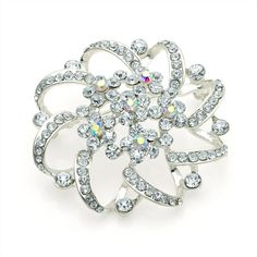 silver crystal flower ladies womens fashion dress brooch | 14587 | £13.95