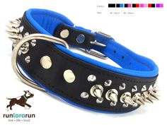 """runlararun - the best dog collars, leads and harnesses - """"Ashaad"""" Collar - 1 Spike 2 Studs Soft Leather , $49.95 (http://www.runlararun.com/ashaad-collar-1-spike-2-studs-soft-leather/)"""