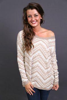 Cozy Aztec Sweater in Light Mocha