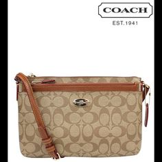 """NEW Coach crossbody signature canvas leather trim Removable leather pouch; signature canvas with leather trim; inside open pockets; strap 22 3/4 """" from shoulder; 10.5"""" L x 6.75"""" H Coach Bags Crossbody Bags"""