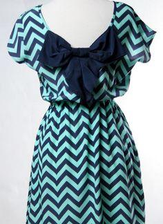 chevron print dress with bow
