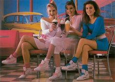 Everybody had to have a pair of LA Gear high tops and the socks always had to match your shirt. I thought I was as cool as these girls in my LA Gear. Moda 80s, American Apparel, Mode Punk, 80s And 90s Fashion, 80s Womens Fashion, Rock Fashion, Fashion Photo, Fashion Outfits, 90s Girl