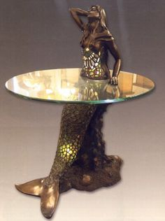 Mermaid Stained Gl Table And Lamp Diy Home Decor