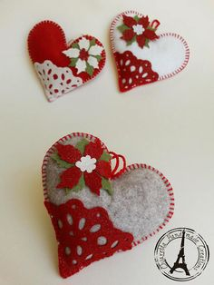 Heart felt Christmas tree ball with Poinsettia image 2 Ornament Crafts, Valentine Crafts, Holiday Crafts, Valentines, Felt Christmas Decorations, Felt Christmas Ornaments, Christmas Tree, Fabric Hearts, Fabric Ornaments