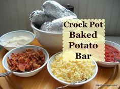How to make simple, perfect baked potatoes every time… try the crock pot. A s… How to make simple, perfect baked potatoes every time… try the crock pot. A simple meal ideas is to use the baked potatoes in a Baked Potato Bar. Crock Pot Baked Potatoes, Baked Potato Bar, Perfect Baked Potato, Mashed Potatoes, Slow Cooker Recipes, Crockpot Recipes, Cooking Recipes, Crockpot Dishes, Crock Pot Cooking