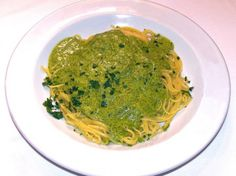 Linguine with Pesto! Pesto (the actual sauce!) © 2014 by Patsy's Italian Restaurant. All rights reserved. Healthy Italian Recipes, Sicilian Recipes, Italian Foods, Food Menu, A Food, Italian Restaurants Nyc, How To Make Pesto, Pesto Sauce, Restaurant Recipes