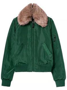 Manteau col en simili fourrure avec poches -vert 51.62