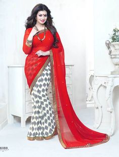 Red with White Colored Half Saree Designed Semi Georgette Saree with Jari Patch work Border and Red Colored Blouse Part @ Rs. 1040 http://www.shreedevitextile.com/women/sarees/synthetic-fancy-sarees/shree-devi/red-with-white-colored-semi-georgette-saree-16088