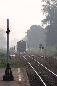 Kanchanaburi train in the mist Thailand