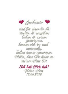 Besticktes Taschentuch Schwester oder Bruder Wedding favors This wonderfully embroidered wedding han Sister Valentine, Valentine Day Gifts, Diy Wedding Gifts, Wedding Favors, Wedding Ideas, Diy Gifts Last Minute, Sister Christmas Presents, Little Sister Gifts, Disney World Wedding