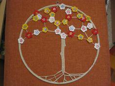 Knopfblütenbaum - umhäkelte Knöpfe - behäkelter Metallreifen - Wandschmuck - NS 1,5