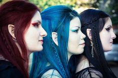 Gorgeous red, blue and black hair cosplay elves