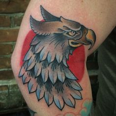 @zanependergast traditional style griffin head tattoo.