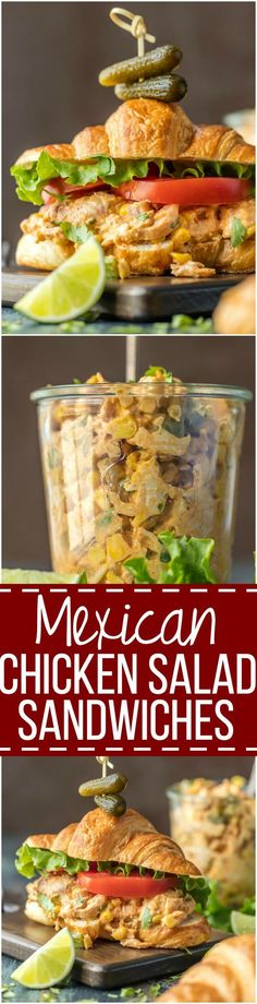 Make lunch spectacular with MEXICAN CHICKEN SALAD SANDWICHES! This easy twist on a classic is sure to please everyone at the table. Chicken salad loaded with taco seasoning, corn, peppers, and enchilada sauce. via paleo dinner mexican Enchilada Sauce, Sandwiches, Enchiladas, Burritos, Nachos, Paleo Dinner, Dinner Recipes, Mexican Chicken Salads, Taco Chicken