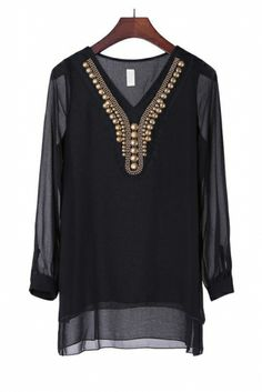Black Chiffon Blouse. Use coupon code: pinterest to receive 20% off your order